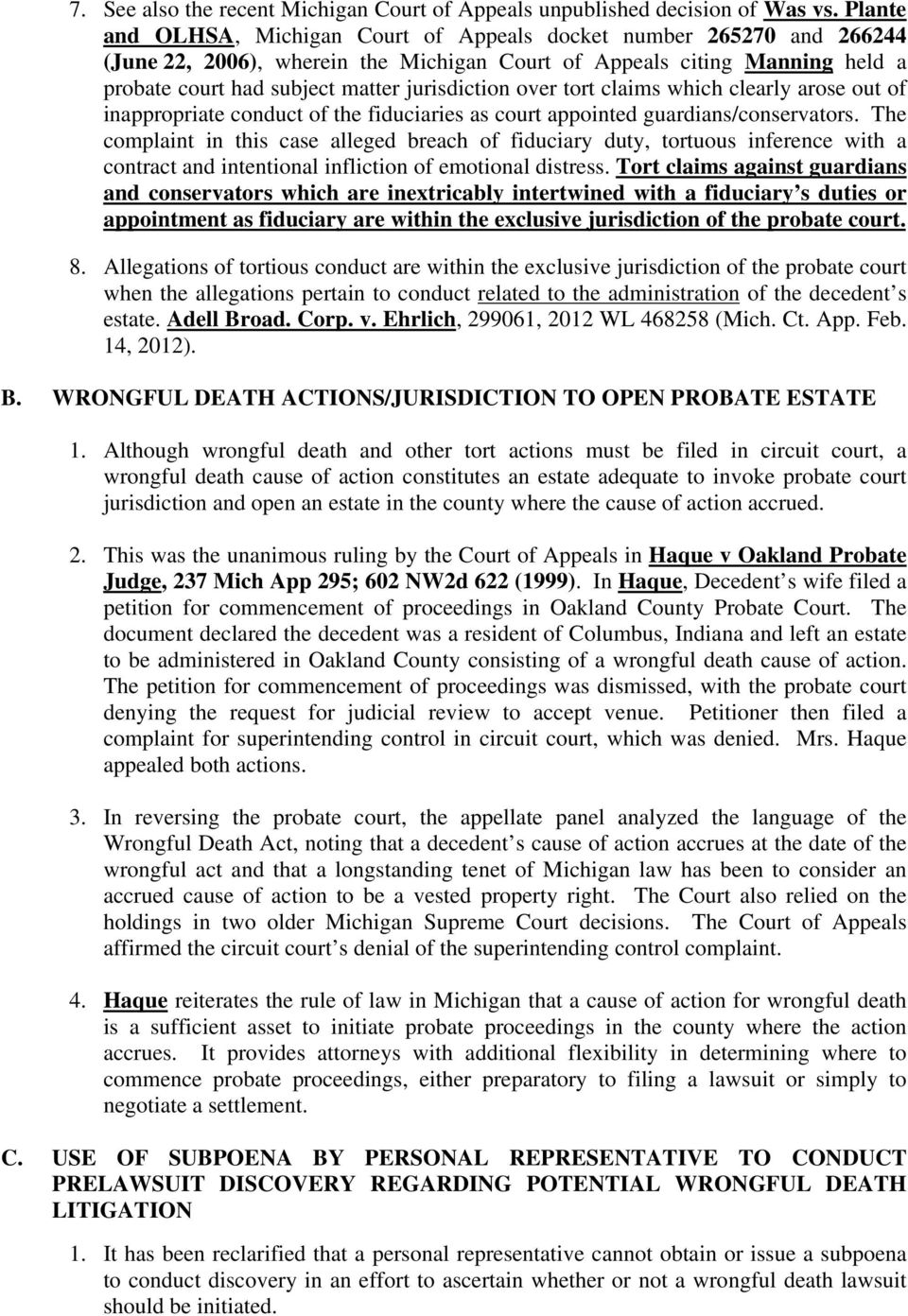 OVERVIEW OF PROBATE COURT JURISDICTION  Lawrence J  Paolucci