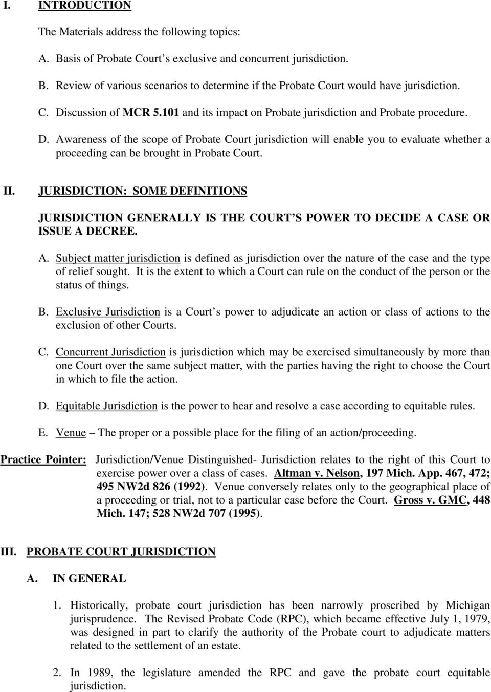 overview of probate court jurisdiction. lawrence j. paolucci court