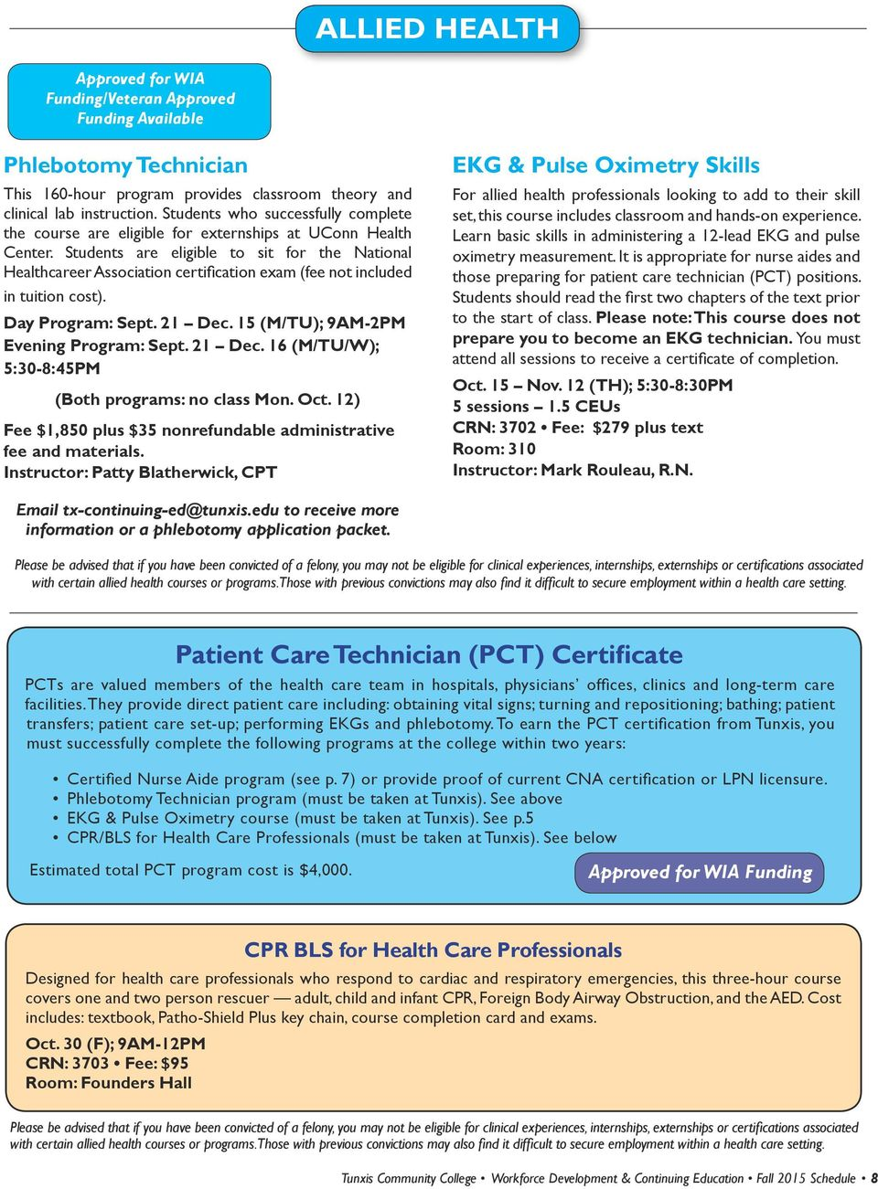 Tunxis Fall Non Credit Course Schedule Workforce Development