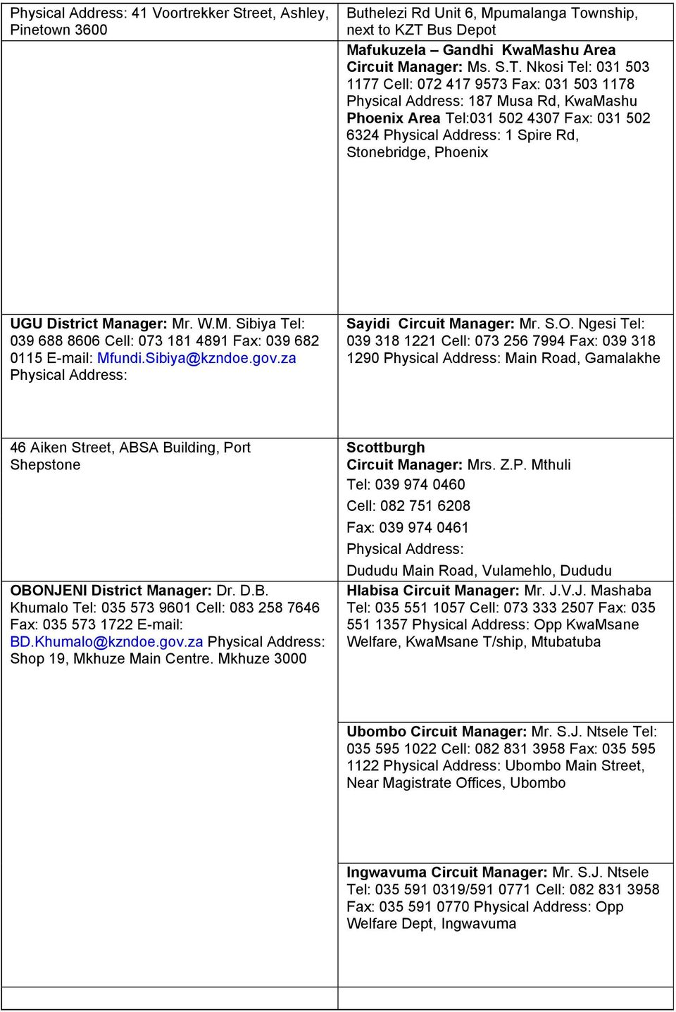 DISTRICTS AND CIRCUIT OFFICES CONTACT DETAILS - PDF