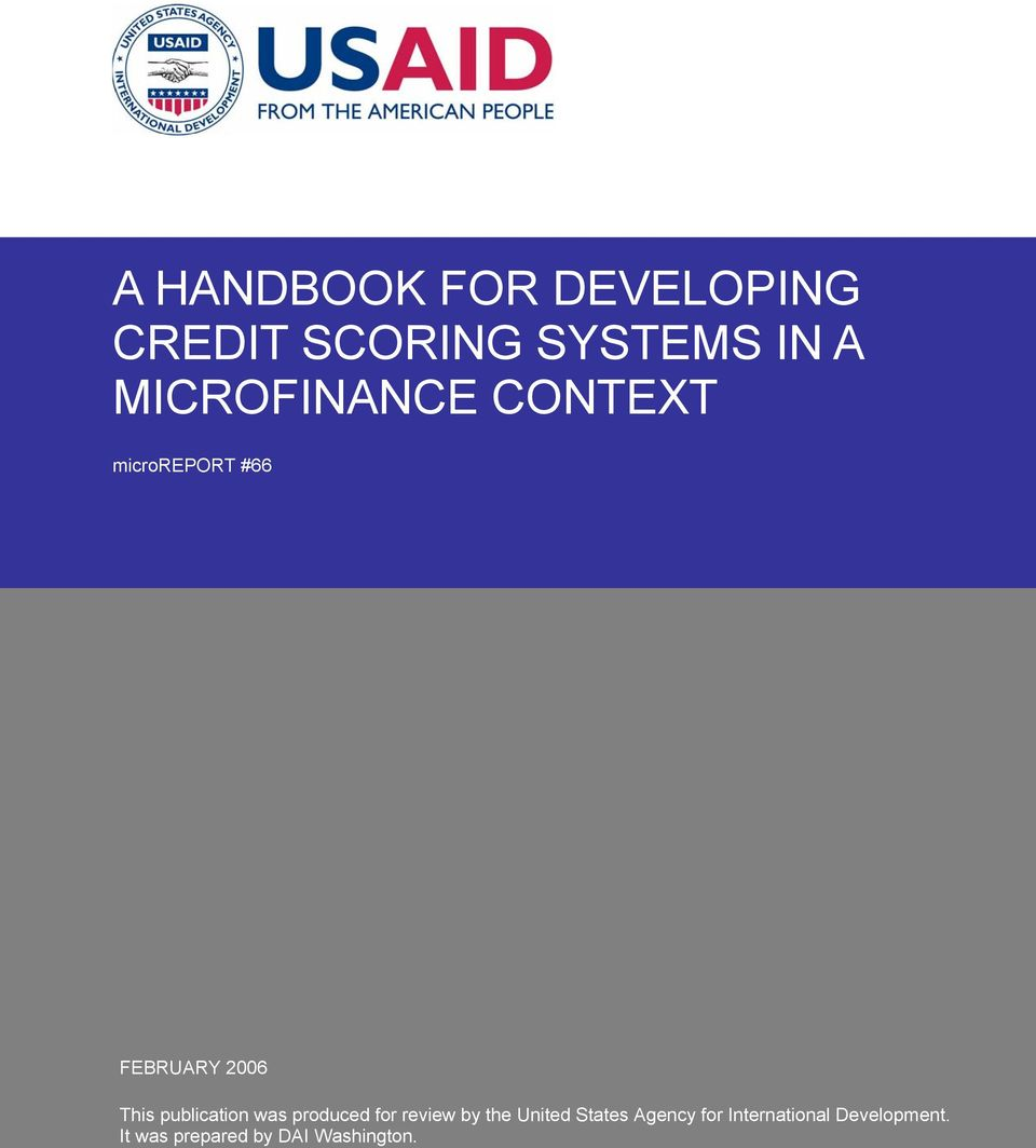 a handbook for developing credit scoring systems in a microfinance