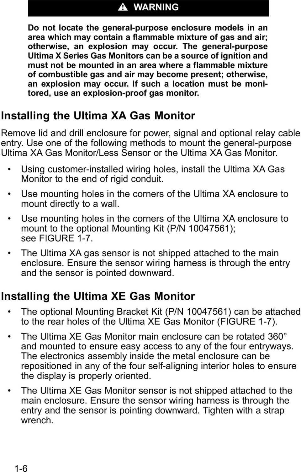 Ultima X Series Gas Monitors Instruction Manual Pdf Wiring Harness Explosion May Occur If Such A Location Must Be Monitored Use An