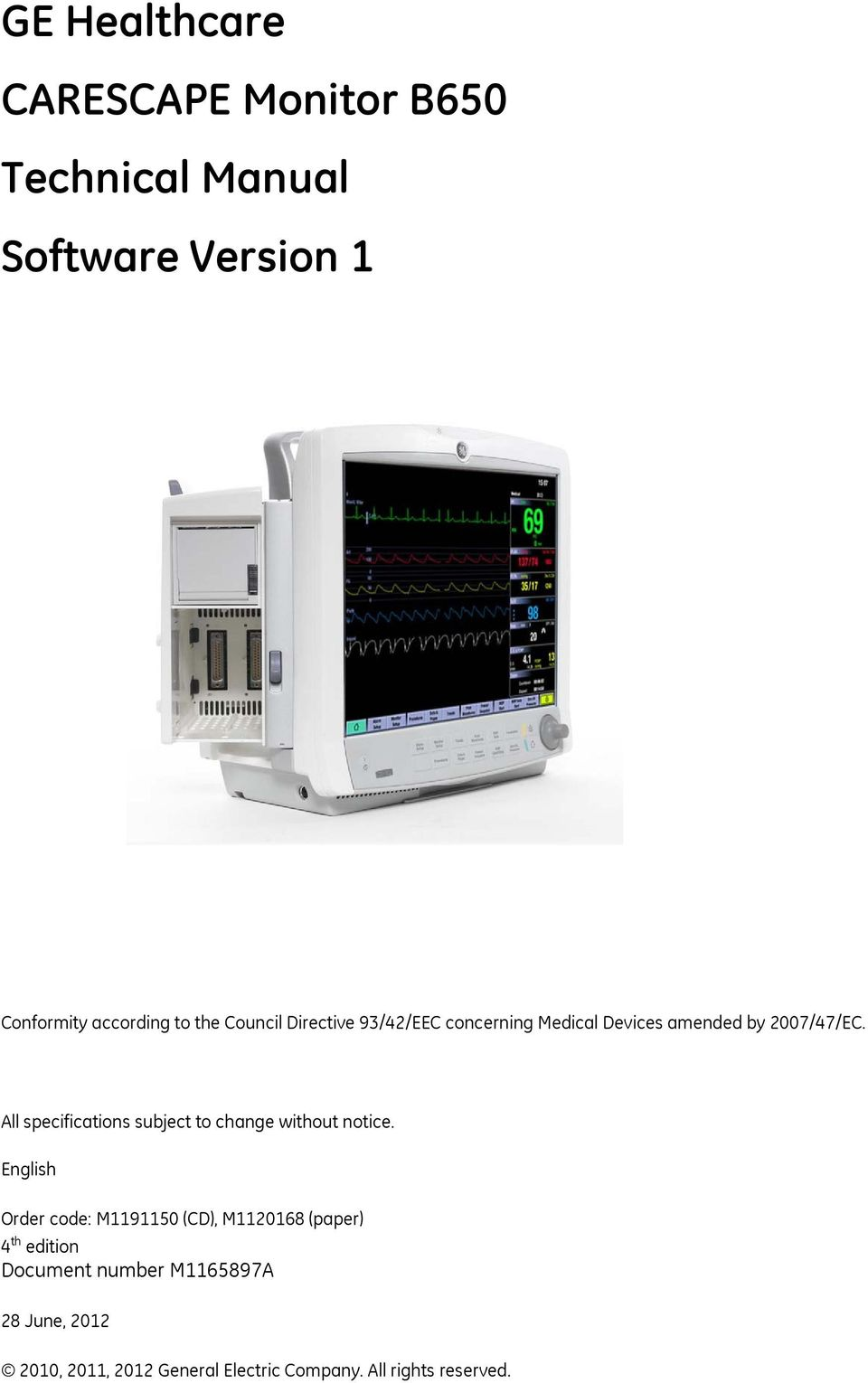 ge healthcare carescape monitor b650 technical manual software rh docplayer net carescape monitor b650 manual carescape monitor b850 user manual