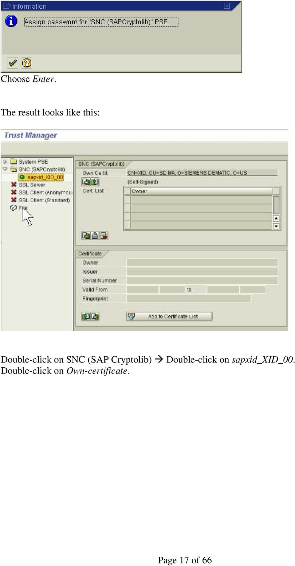 Configure Secure Network Communication (SNC) Configure