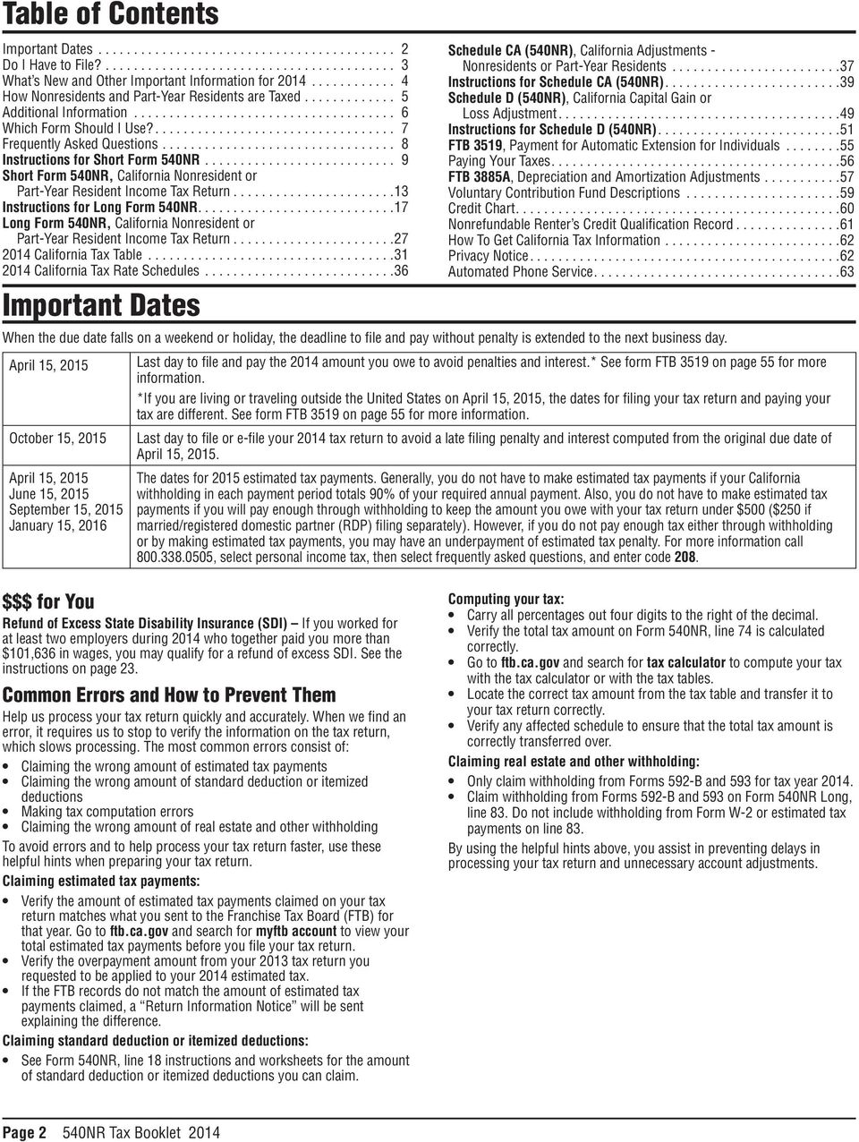 California 540nr Nonresident Or Part Year Resident Booklet Forms