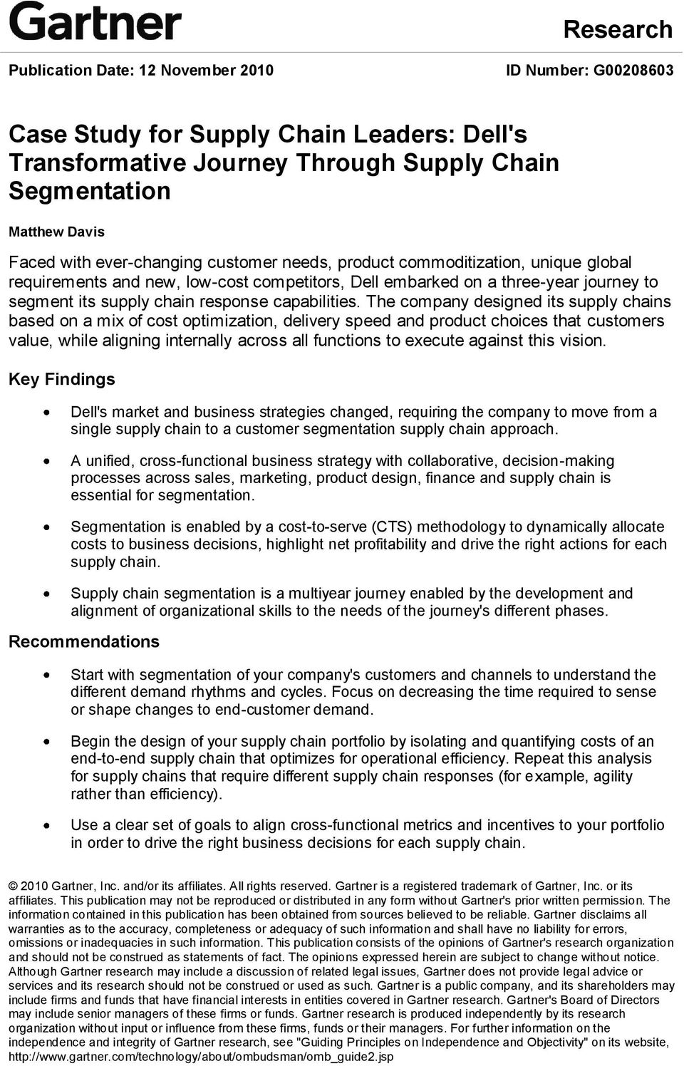 dell supply chain management case study pdf