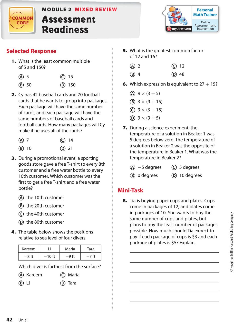 Factors And Multiples Greatest Common Factor Common Core Least