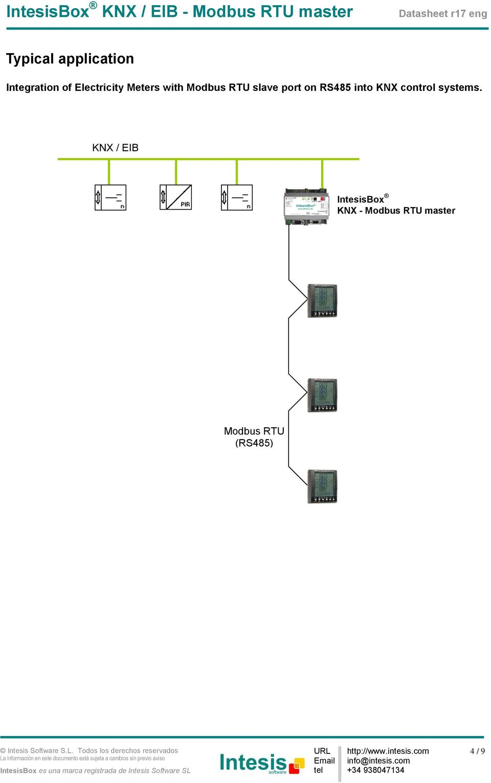 RS485 into KNX control systems.