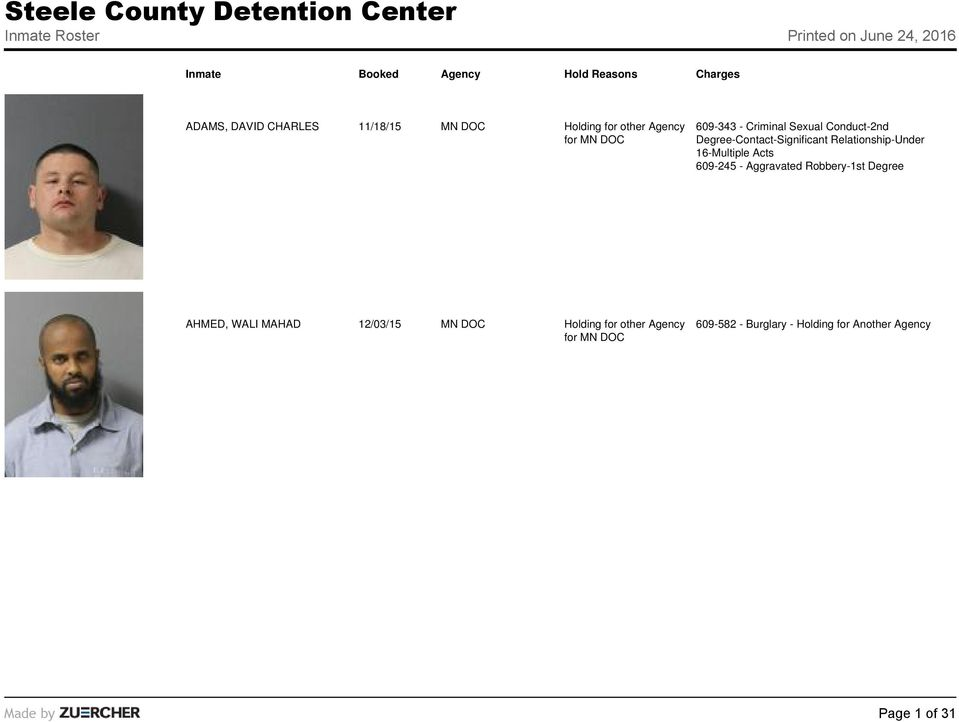 Steele County Detention Center Inmate Roster Printed on June 24, PDF