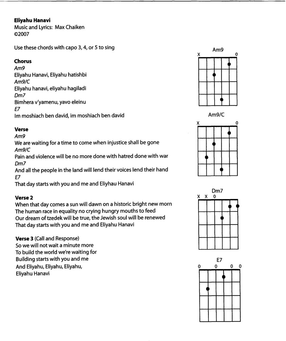 Songleading Major Chord Supplement Resources Pdf