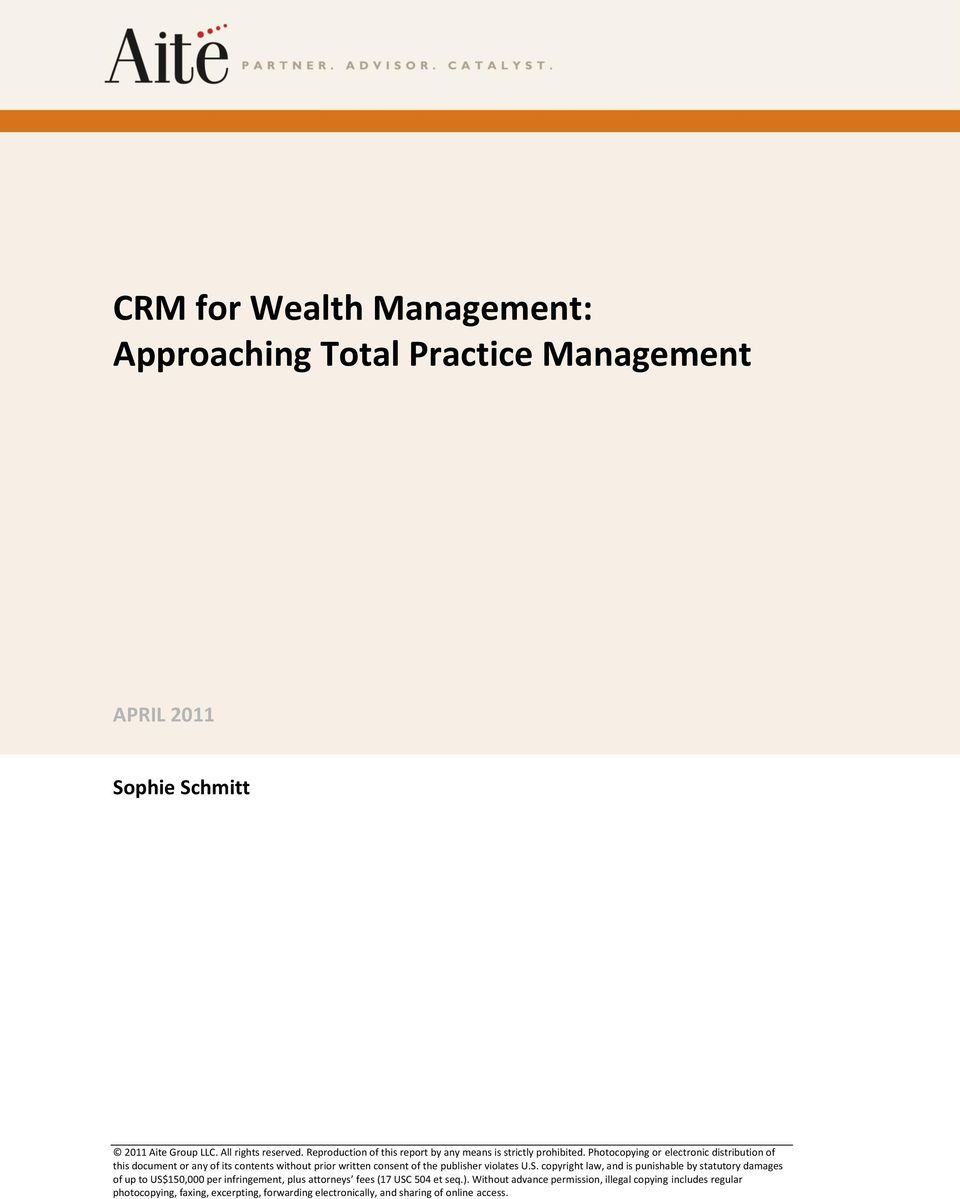 CRM for Wealth Management: Approaching Total Practice