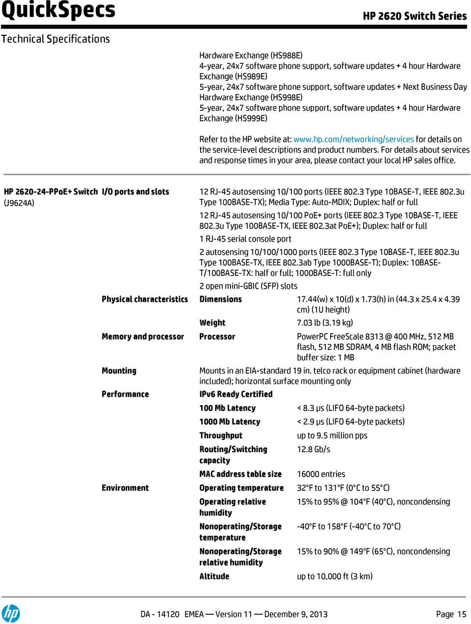 QuickSpecs  Models HP Switch HP PoE+ Switch - PDF