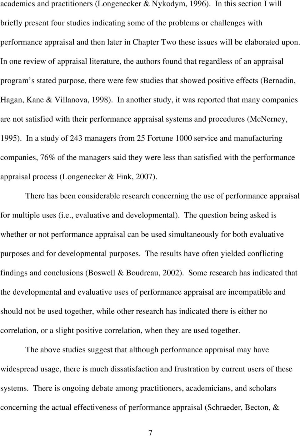 performance appraisal review of literature