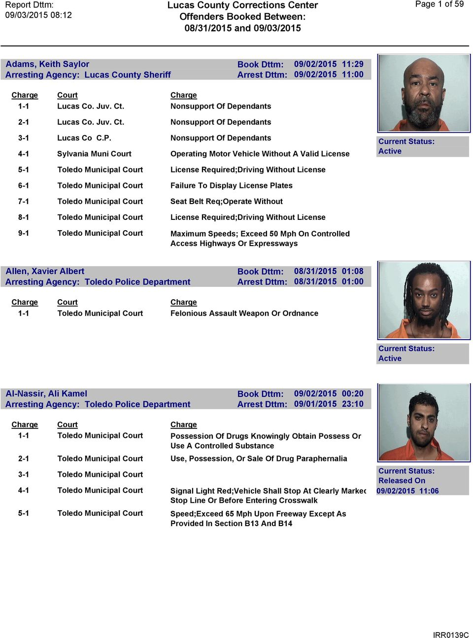 Lucas County Corrections Center Offenders Booked Between: 08