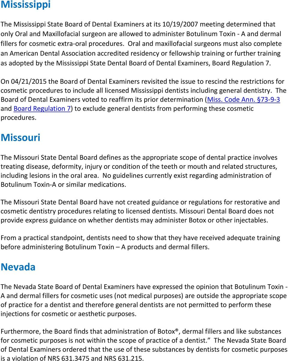 State by State Dental Botox Regulations (United States) - PDF