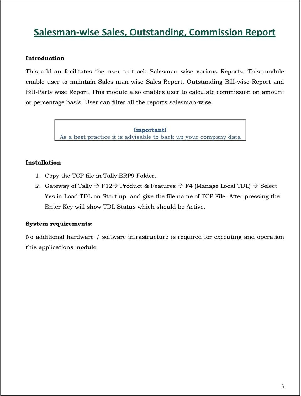 Salesman-wise Sales, Outstanding, Commission Report - PDF