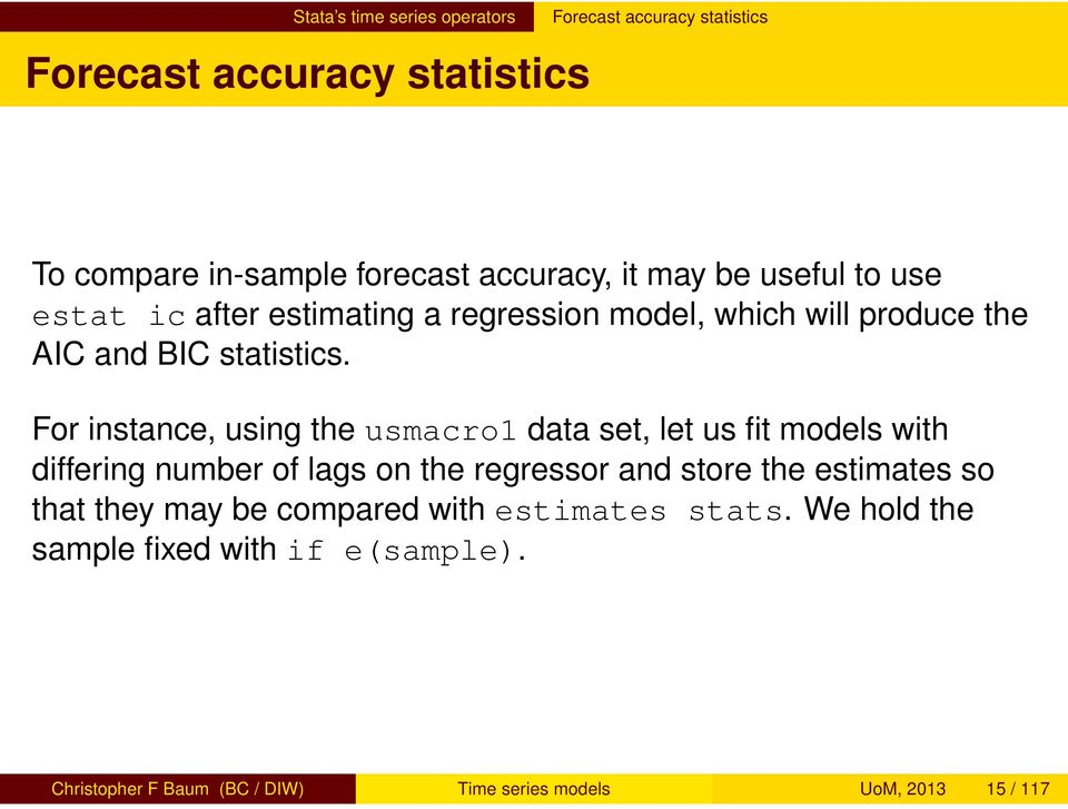 Time series estimation and forecasting - PDF