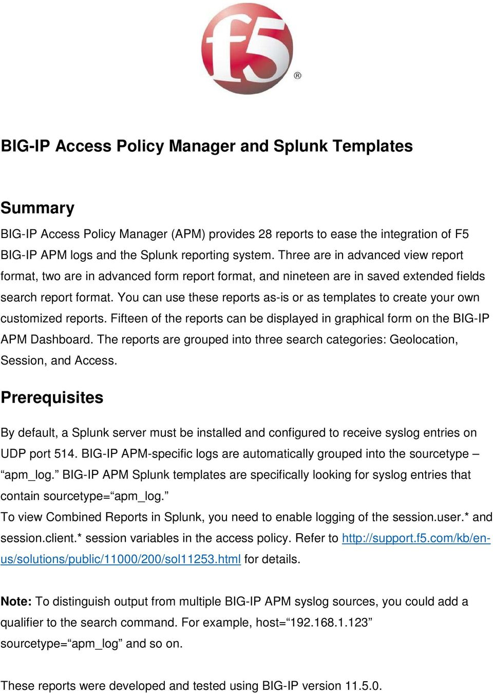 BIG-IP Access Policy Manager and Splunk Templates - PDF