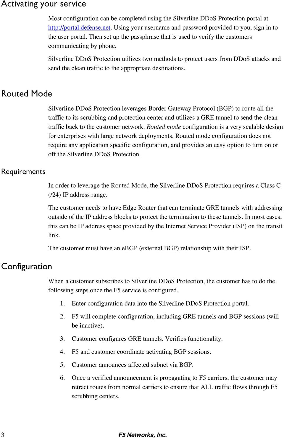 F5 Silverline DDoS Protection Onboarding: Technical Note - PDF
