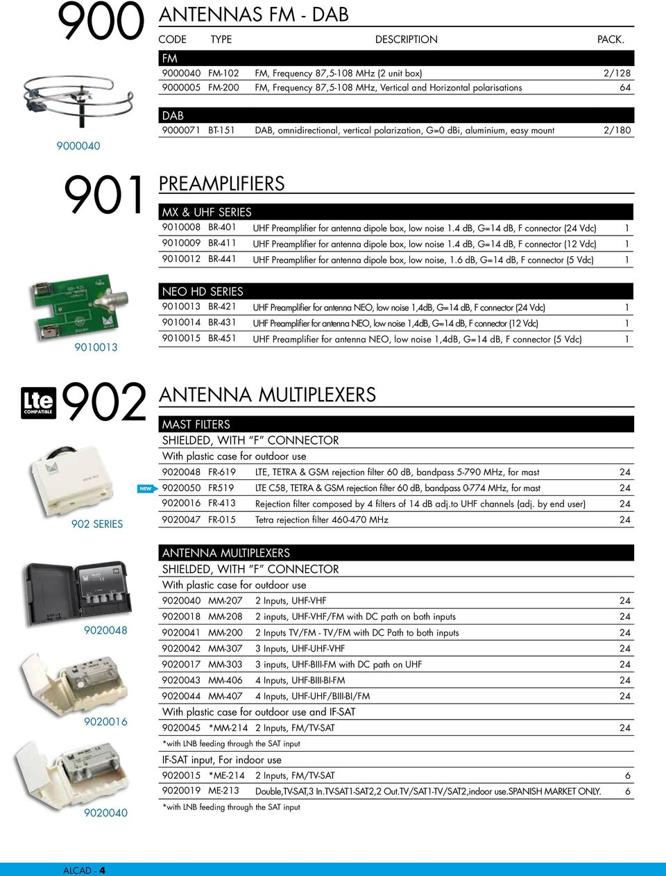 Tv Reception And Distribution Short Form Catalogue Pdf Uhf Preamplifier 4 Db G14 F Connector 24 Vdc 1 9010009