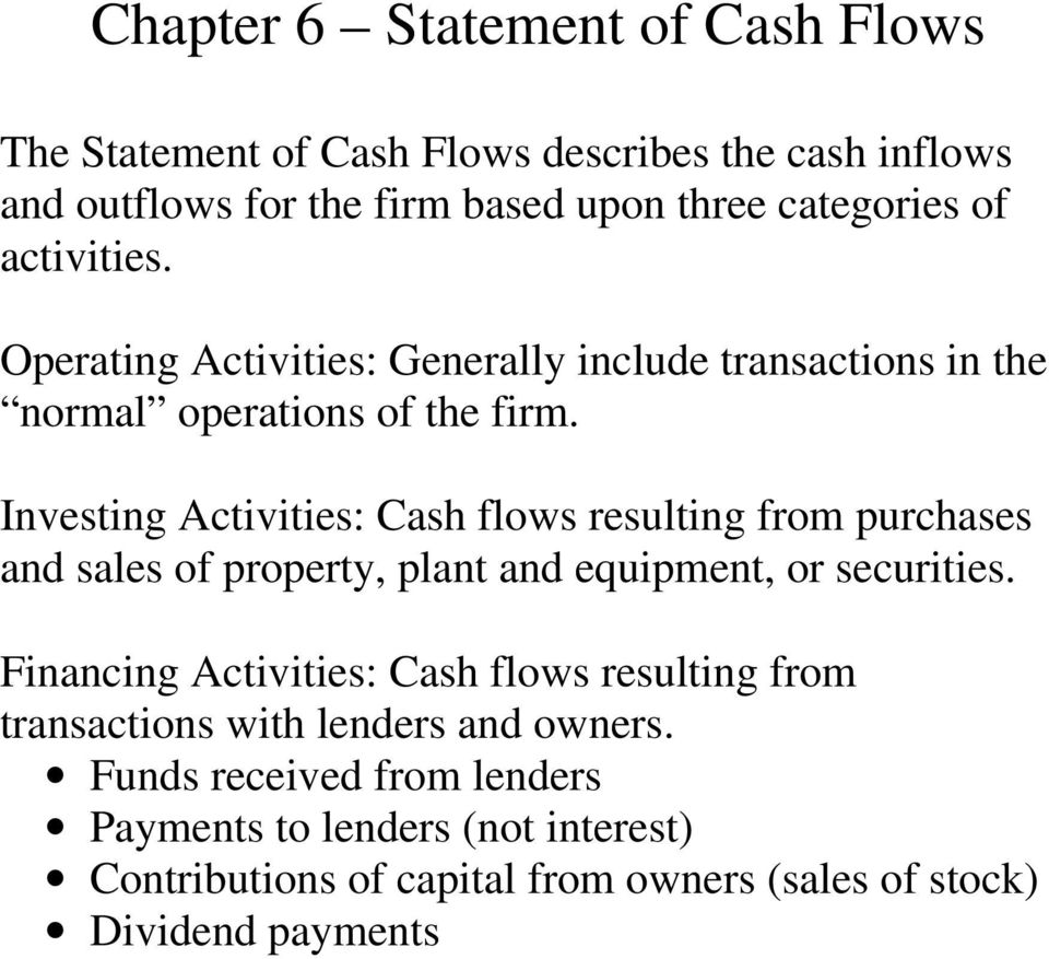 Investing Activities: Cash flows resulting from purchases and sales of property, plant and equipment, or securities.