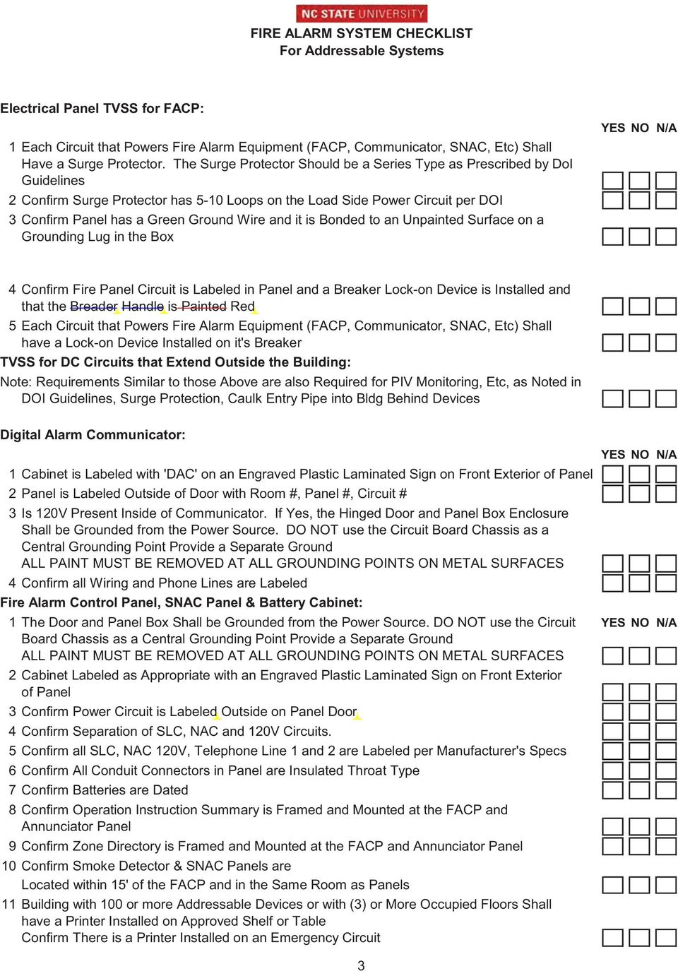 Fire Alarm System Checklist For Addressable Systems Prior To Diagram It Is Bonded An Unpainted Surface On A Grounding Lug In The Box 4 Confirm