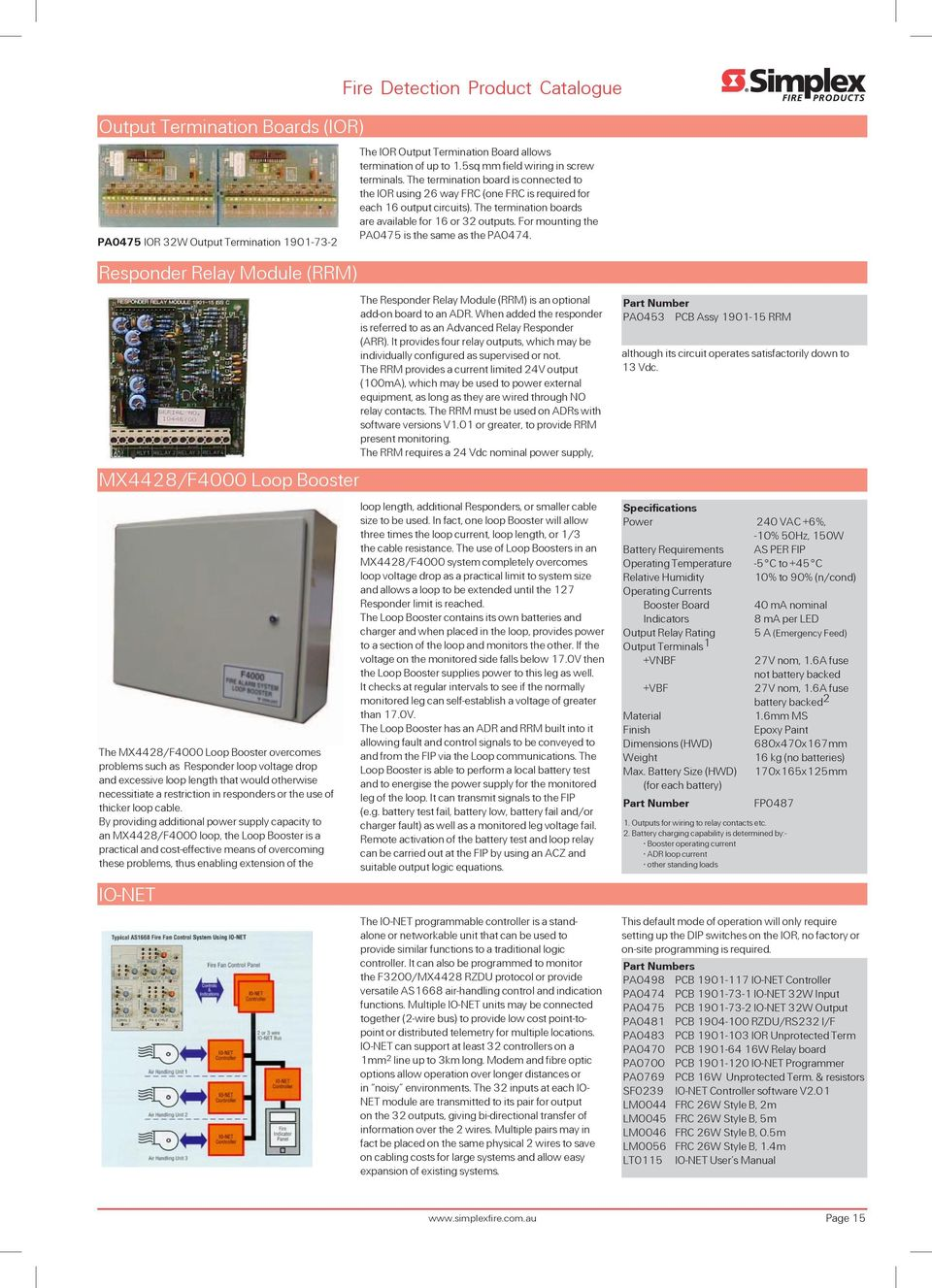 Fire Detection Australia Product Catalogue Issue 2 Pdf System Ebl128 Panasonic Electric Works Europe Ag By Providing Additional Power Supply Capacity To An Mx4428 F4000 Loop The Booster