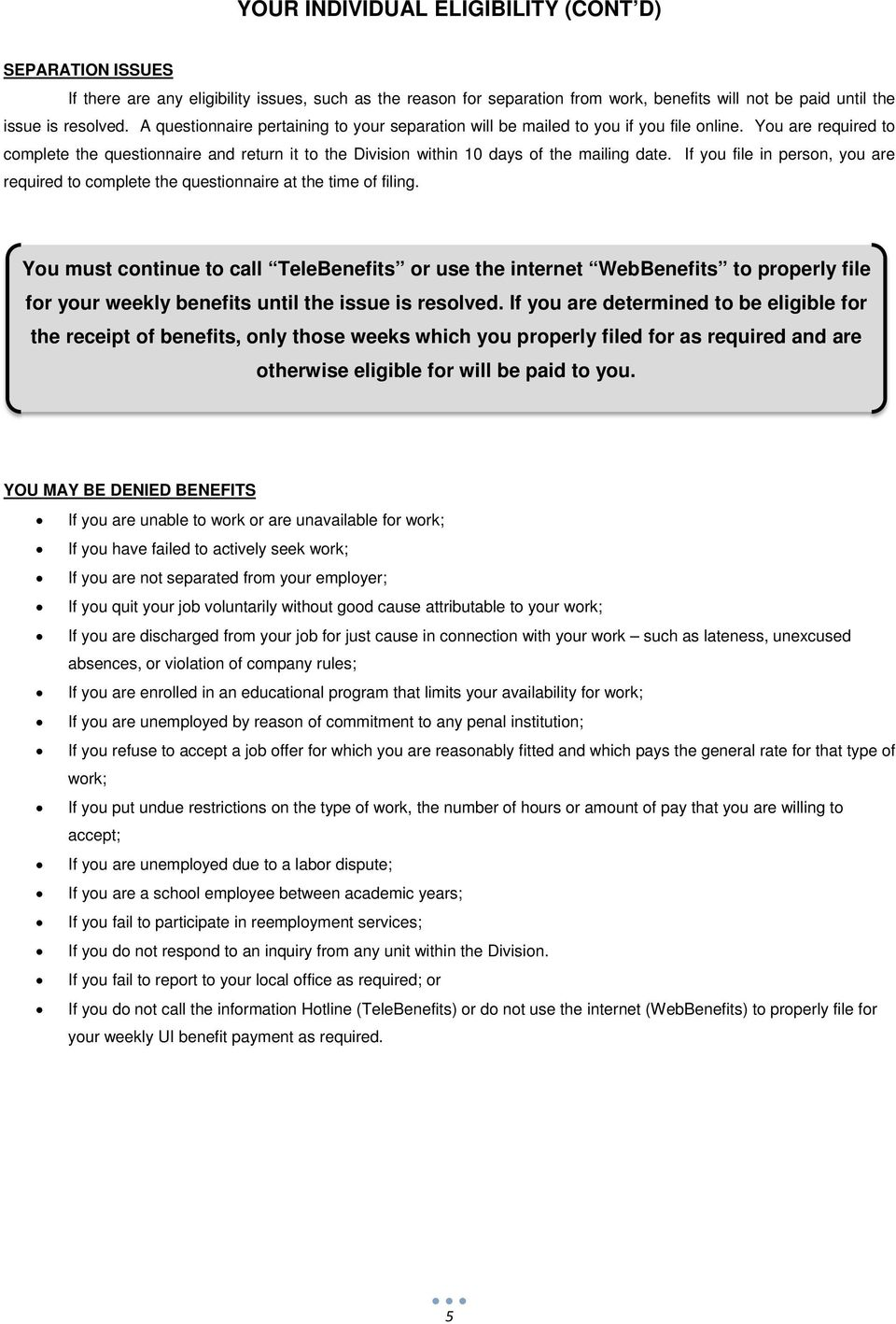 Claimant Handbook Your Guide To Unemployment Insurance Benefits