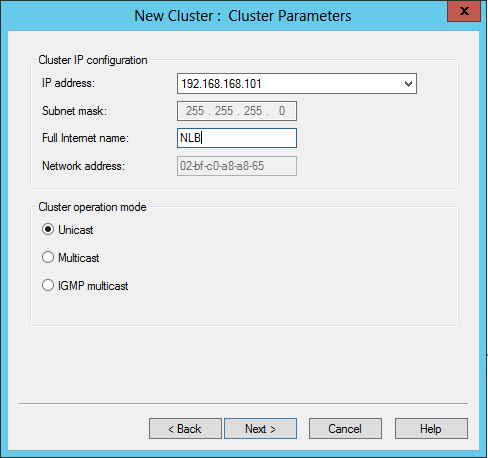5. Type the IP address that will be used by every host in the cluster. Click OK then Next to continue: 6.