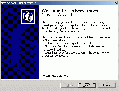 New Server Cluster Wizard appears.