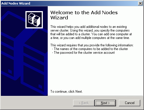 Add Nodes Wizard appears.