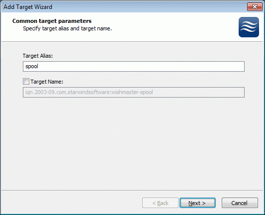 Adding New Shared Disk Resource StarWind Target Click the right mouse button over the host and select Add Target pop-up menu item. In the wizard that appears, select a target name.
