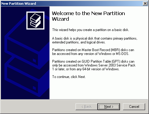 New Partition Wizard appears.