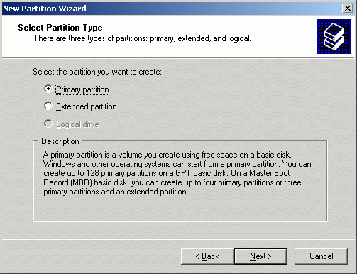 Select partition type to create.