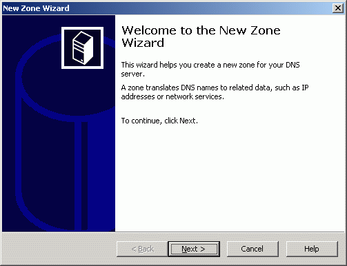 New Zone Wizard appears.