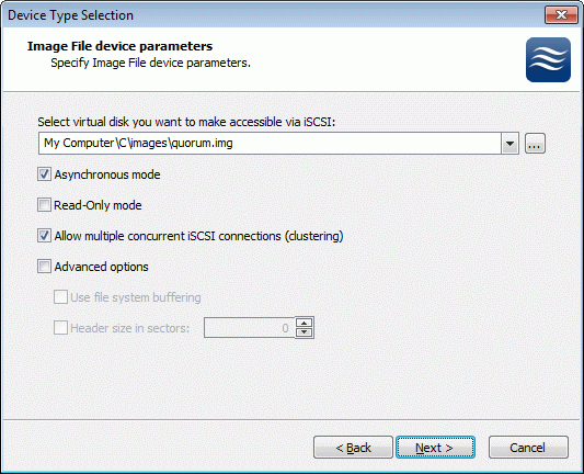 Image File device has some extra parameters. Check Allow multiple concurrent iscsi connections (clustering) checkbox.