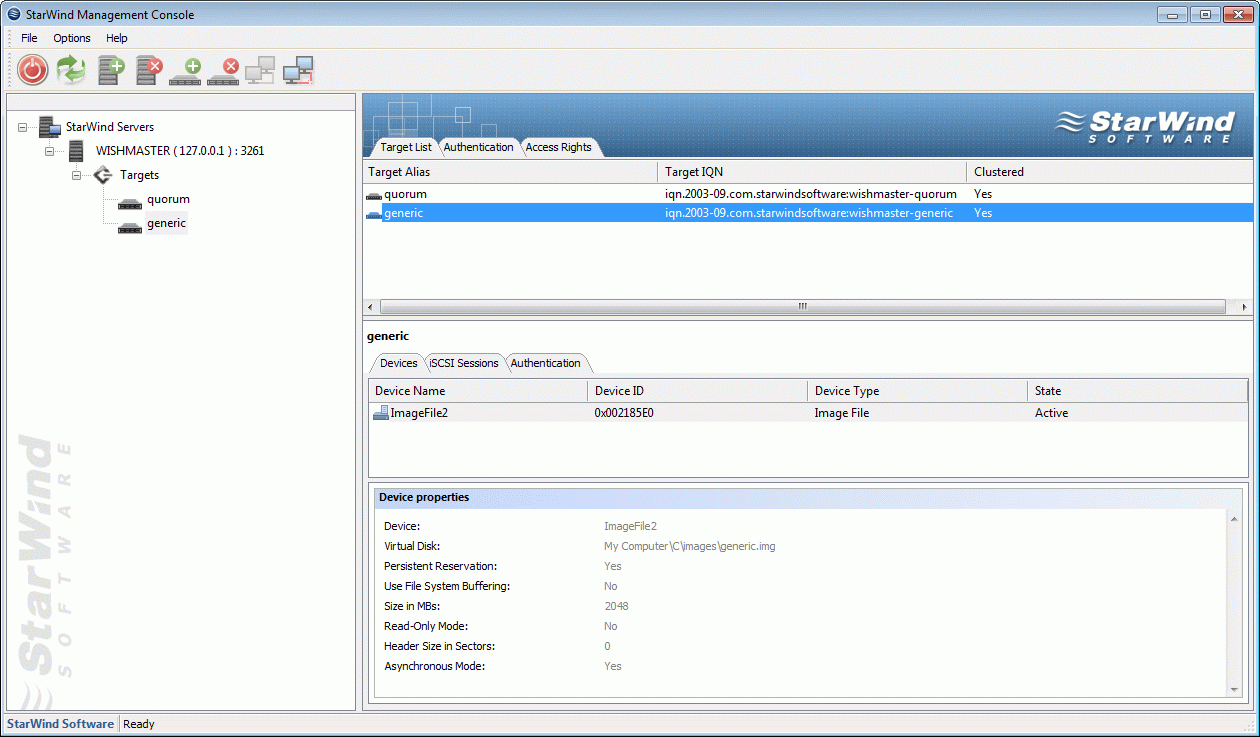 If successful, the StarWind Console should look like the sample