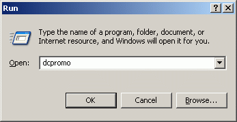 Active Directory Select Start->Run and type in dcpromo.