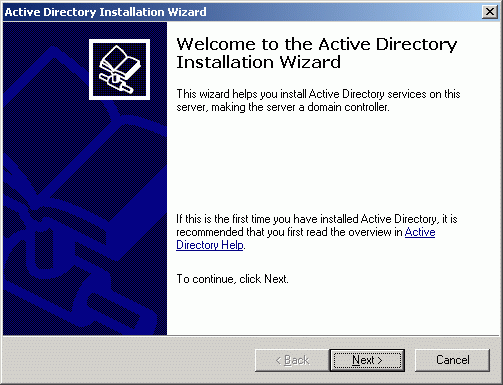 The Active Directory Installation Wizard appears.