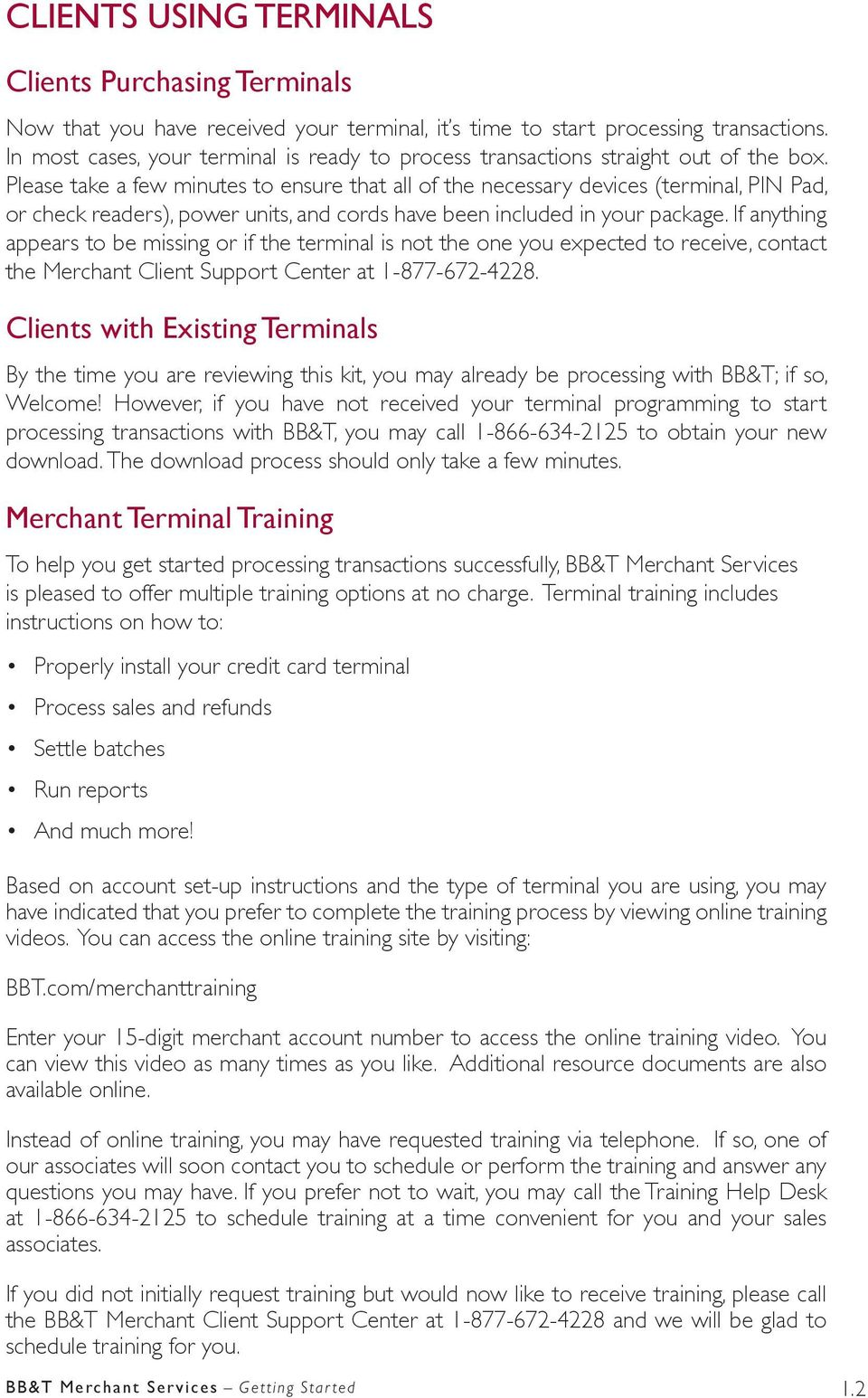 Bb&t merchant services reference kit important information.