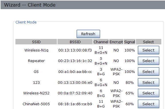 Select the SSID of the Access Point