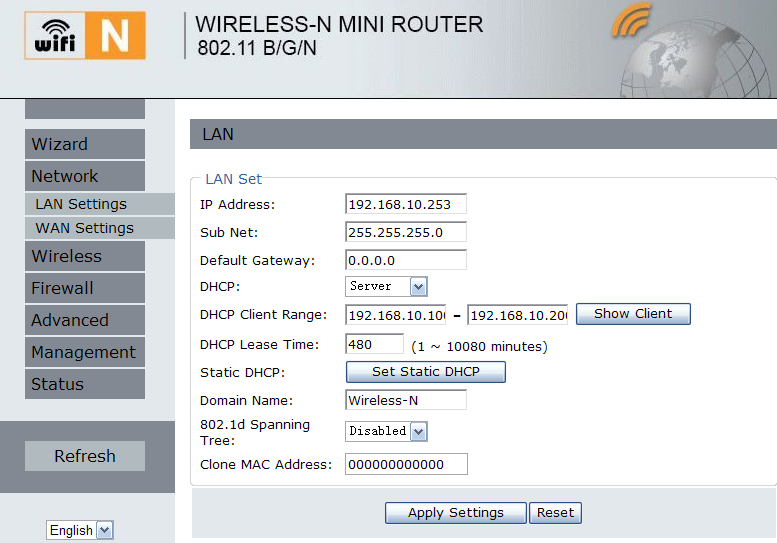 LAN SETTINGS Please click Network LAN Settings located at the web