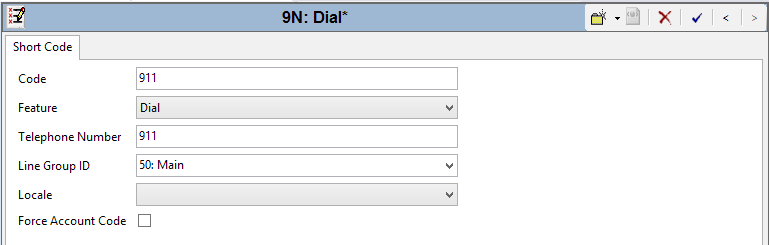 In the Code field, enter the dial string which will trigger this short code. In this case, 911. Set the Feature field to Dial since the purpose of this short code is to dial a number.
