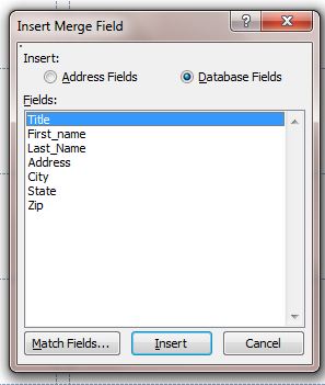 i. In the Write and Insert Fields sections on the Mailings tab, click the Insert Merge Field button.