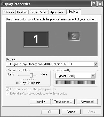 Configuration Windows 2000/XP/Vista/7 To configure the image being displayed by the monitor that is connected to the USB video adapter, right-click on a blank section of the desktop, select