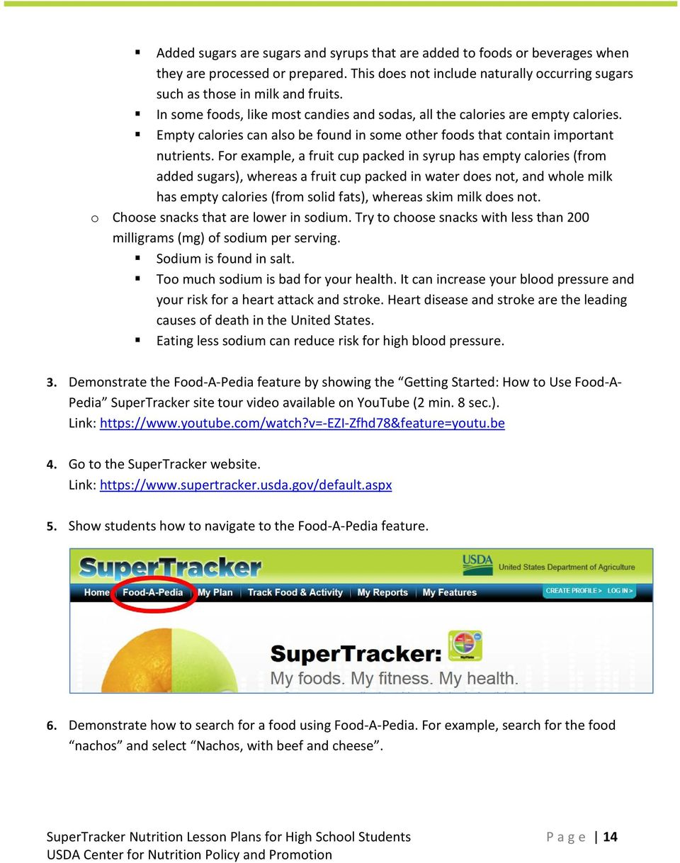 Supertracker Nutrition Lesson Plans For High School Students Pdf