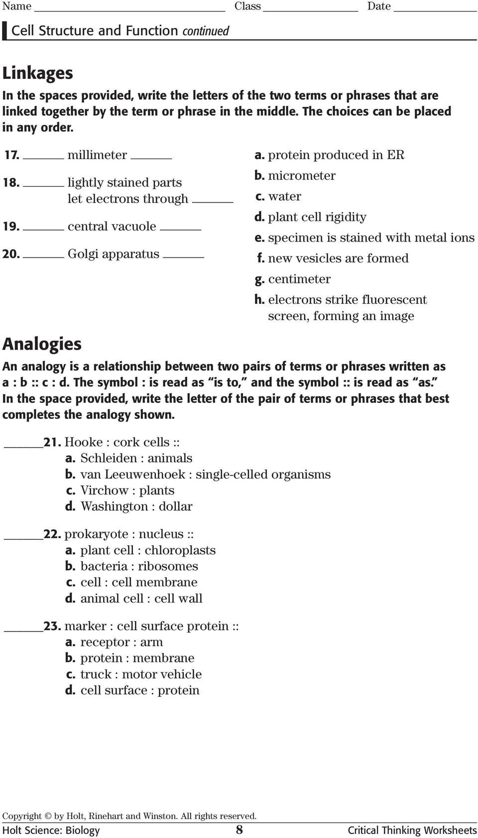 Holt Science Biology Critical Thinking Worksheets Pdf