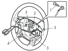 37 Insert a screwdriver in the hole along the rear edge of the steering wheel perpendicular to the rear surface of the steering wheel.