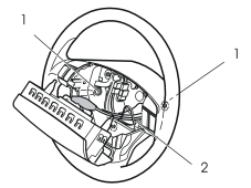 44 Install the screws and attach the keypad with the clamp around the steering wheel spoke. M3903757 45 Position the horn ring and position it as illustrated.