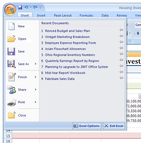 Basic Microsoft Excel 2007 The biggest difference between Excel 2007 and its predecessors is the new layout.